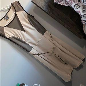 Dots tan, mesh dress with cheetah print belt